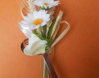 Back train rural - country bride brooch - Daisy and wheat