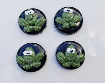 4 frog push pins, thumb tacks