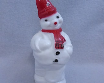 Vintage Mid Century Hard Plastic Snowman with Red High Hat and Scarf  HO767