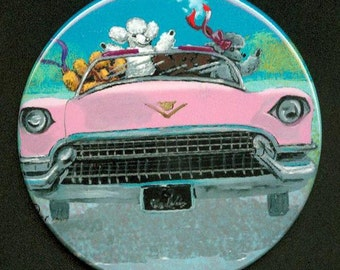 3.5 in Pin Backed Button Poodles in Vintage Pink Caddy Convertible Car Retro