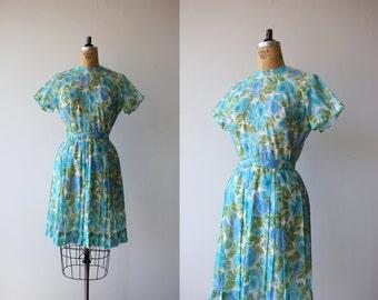 1960s vintage dress / 60s day dress / 60s full skirt dress / 60s floral print dress / 60s spring roses dress / 60s blue green dress / medium
