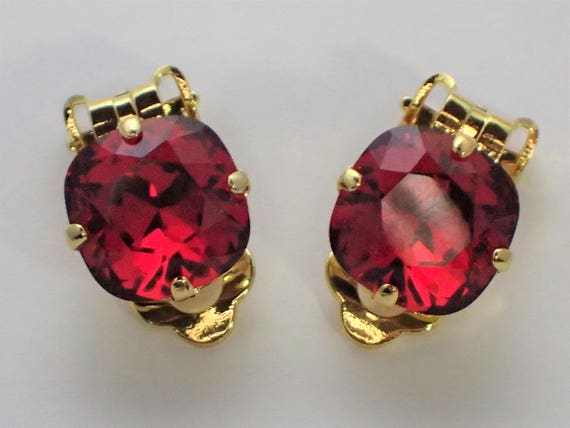 Scarlet Crystal Clip On Earrings, Gold