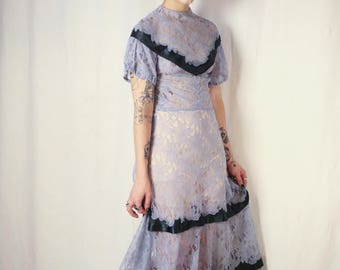 Incredible periwinkle blue Chantilly lace 1930s full length gown
