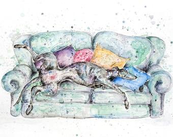Greyhound art, ORIGINAL watercolour and pen painting, greyhound painting, gift for dog lovers, sighthound art, greyhound on sofa, dog art