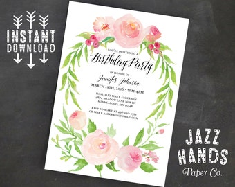 Printable Birthday Invitation Template | Instant Download | Adult Birthday Invitation | Floral | Watercolor | Birthday Party Invites