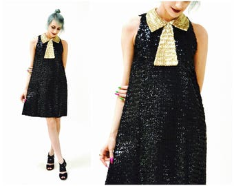 60s Vintage Black Sequin Dress Small Black Gold Metallic Sequin Swing Dress with bow XS SMALL