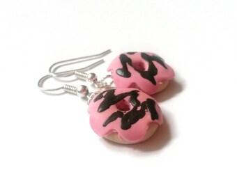 Donut Earrings Pink Donut Earrings ( Polymer Clay miniature donut doughnut earrings food earrings miniature food donut jewelry )
