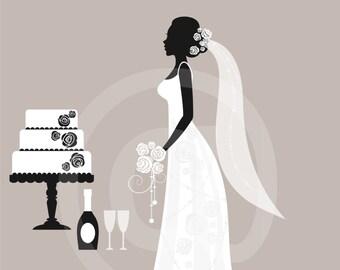 Wedding Clip Art, Cake Clip Art, Bridal Clip Art, Royalty Free Clip Art, Black and White, Silhouette, NO1, Instant Download