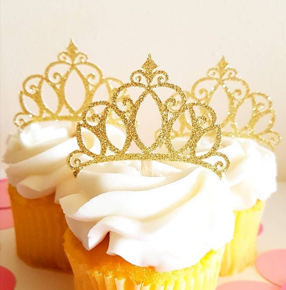 Princess Crown Cupcake Toppers Glitter Crown Toppers Gold