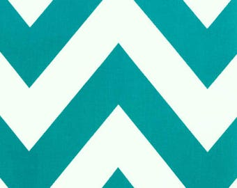 RECENTLY REDUCED!!  Premier Prints Zippy True Turquoise White Chevron Stripe Home Decorating Fabric By The Yard