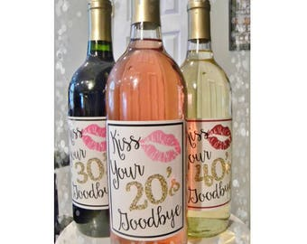 Wine Labels - Personalized Birthday Wine Labels - 20th 30th 40th 50th 60th Birthday - Birthday Wine Labels - Birthday Gift - Birthday Favors
