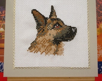 Card birthday party Shepherd German hand embroidered