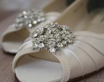 Wedding Shoes, Custom Wedding Shoes, Ivory Wedding Shoes, Wedding Wedges, Small Wedge Wedding Shoes, Wedding Bling, Bling Wedding Shoes