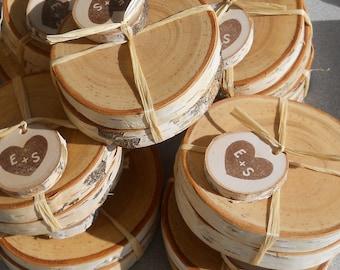 Cadeaux de mariage rustique boisé personnalisé paire de verres de bouleau - 25 paires