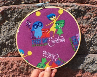 Pixar Inside Out Embroidery Hoop Wall Art Embroidered Wall Decor Ready to Ship