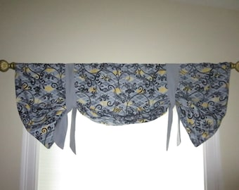 Grey and yellow window valance, lined window valance, decorative valance, lined grey and yellow valance.