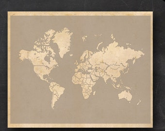 """World Travel Maps - Printable World Travel Map Instant Download - 16""""x20"""" Wall Art - No Banner Style"""