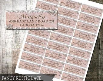 Rustic Lace Address Labels | Rustic Pink flowers and Burlap Border | Country Rustic Chic printable Avery Labels