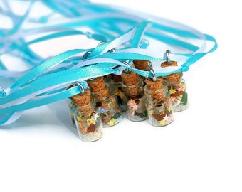 Mermaid Treasure Necklaces, Sea Glass, Beach Glass, Sea Shells, Mermaid Party Favors, Beach Party