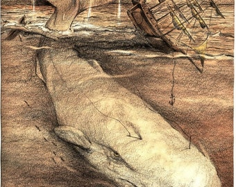 White Whale...Herman Melville's Moby Dick 2 sizes rustic Captain Ahab Pencil Drawing Essex art Print... Teacher or Student Gift