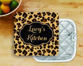 Personalized Oven Mit Pot Holder Monogrammed Christmas Gift Housewarming wedding gift