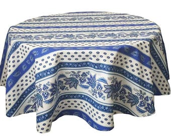 """French Provence Tablecloth, Blue and White Tablecloth, 60"""" Round Tablecloth"""
