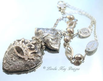 Milagros Soldered Necklace Sacred Heart  Religious Medal Assemblage Necklace Lorelie Kay Designs