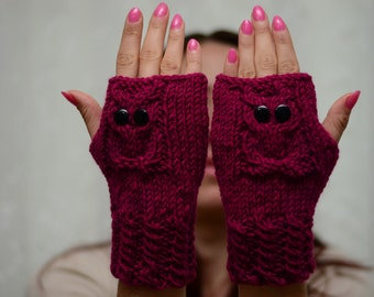 Owl, Strawberry Pink Owl Gloves, Hand Knit Owl Gloves, Fingerless Owl Gloves, Arm Warmers, Fall Fashion