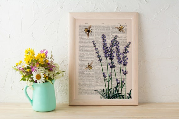 Bees with Lavender flowers Dictionary art print wall art print decor- Wall decor bees insect - art gift  BFL117b