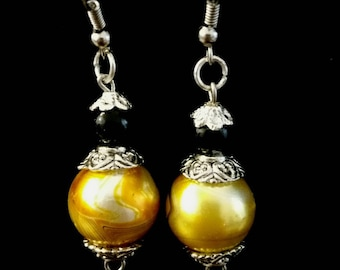 Yellow marble and black Stud Earrings