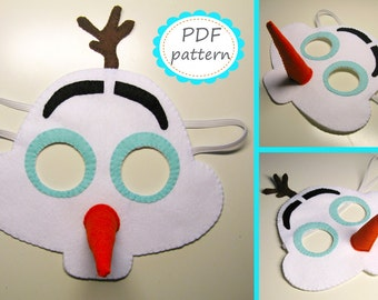 PDF PATTERN Snowman Olaf felt mask sewing tutorial instruction DIY handmade white frozen costume accessory for boy girl adult Dress up play