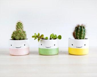 Ceramic planters for succulent, Ceramic plant pot, Ceramic small planters set, Cactus planter, Pottery planter, Modern planter with face pot