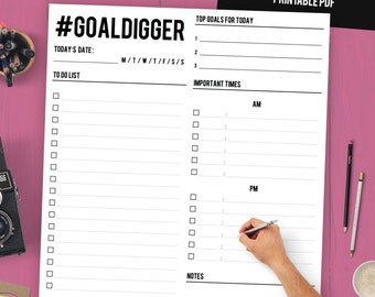Daily Planner Printable / Daily Planner Binder / Daily Organizer / To Do List Printable / Daily Agenda / Goal Planner / Goal Digger