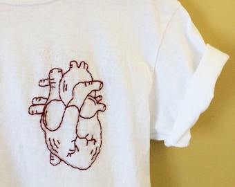Human Heart hand-embroidered shirt