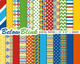 Primary Colors Digital Paper Pack, Scrapbooking Papers, 24 jpg files 12 x 12 - Instant Download - DP292