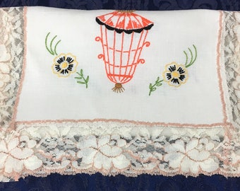 "Vintage Retro Hand Embroidered Linen Table Runner Dresser Scarf with Lanterns and Flowers pretty Lace edging 31"" x 15""  R67"