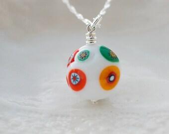 White Murano Millefiori Glass Necklace