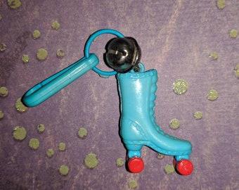 Jahrgang Bell Charme blau Roller Skate sport sportlich-Charm-Armband - Kette - Retro Schlüsselanhänger-Clip - Reißverschluss ziehen - Kitsch Kawaii Mini 80er Jahre