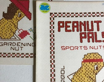 MAYniaSALE Peanut Pals, Set of Two, Nutty Ladies,Sports Nut, Vintage 1977, Very Hard to Find, Counted Cross Stitch Pattern Booklets