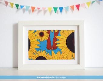 Sunflowers Whimsical Illustration, Bare Feet Poster, Room Wall Decor, Boho Wall Art, Sunflower Home Decor, Botanical Wall Art, Art Print