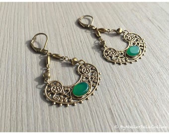 Edwina Art deco earrings, with green agate cabochon