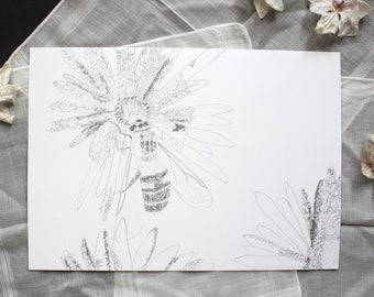 Spring - Bee & flower print - Pencil drawing nature - Wall decoration