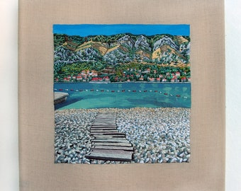 """Hand Embroidery, 13 x 13 cm, Fiber Art, Wall Hanging,  Embroidery, """"Bay of Kotor, Montenegro"""""""