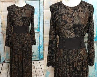80s Brown Paisley Karin Stevens Suede Belt Dress Petite