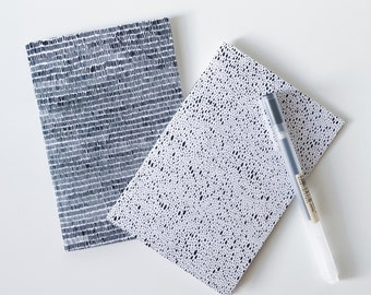 Set of 2 A6 notebooks / graphic notebooks / plain notebook / lined notebook / recycled notebook / stocking filler / ink drawing notebook