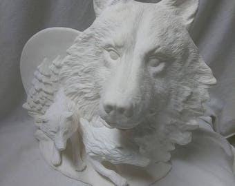 """Moon Wolf 9"""" Ceramic Bisque Ready To Paint"""