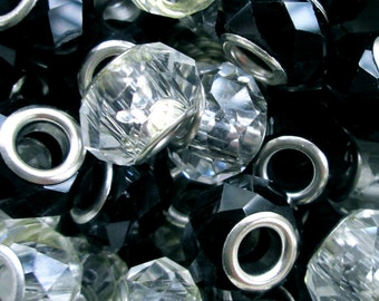 Wholesale Lot ~ 40 European Large Hole Faceted Beads ~ Clear Grey Black Gunmetal