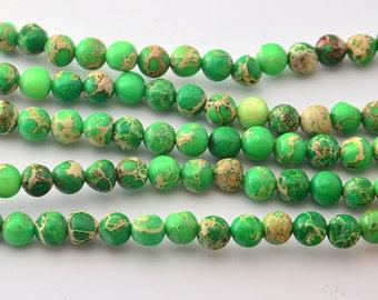 """16""""   Green Imperial Jasper , Green Impression Jasper ,Sea Sediment  Round Beads--6mm"""