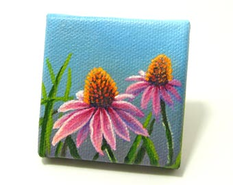 Original 2x2 Mini Garden Flower Painting on Canvas by J. Mandrick