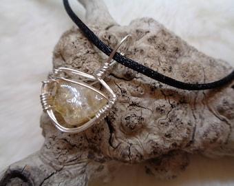 Citrine sterling silver wire wrap pendant